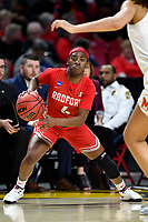 College Park, MD - March 23, 2019: Radford Highlanders guard Khiana Johnson (4) with the ball during first round action of game between Radford and Maryland at Xfinity Center in College Park, MD. Maryland defeated Radford 73-51. (Photo by Phil Peters/Media Images International)