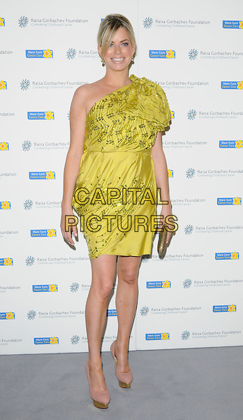 CAROLINE STANBURY .The Raisa Gorbachev Foundation Gala at Stud House, Hampton Court, London, England, UK, June 5th 2010.full length green yellow one shoulder dress nude beige platform shoes Chartreuse gold clutch bag .CAP/CAN.©Can Nguyen/Capital Pictures.
