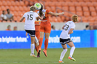 Houston, TX - Thursday Aug. 18, 2016: Joanna Lohman, Caity Heap during a regular season National Women's Soccer League (NWSL) match between the Houston Dash and the Washington Spirit at BBVA Compass Stadium.