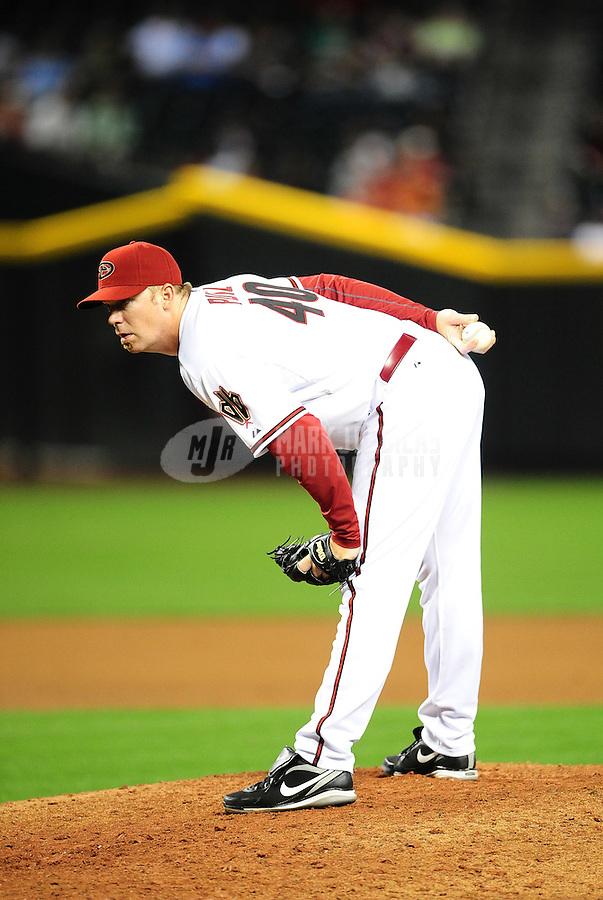 Apr. 12, 2011; Phoenix, AZ, USA; Arizona Diamondbacks pitcher J.J. Putz against the St. Louis Cardinals at Chase Field. Mandatory Credit: Mark J. Rebilas-