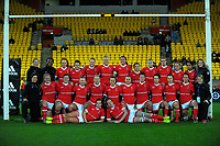 The Canada team pose for a group photo after the 2017 International Women's Rugby Series rugby match between the NZ Black Ferns and Canada at Westpac Stadium in Wellington, New Zealand on Friday, 9 June 2017. Photo: Dave Lintott / lintottphoto.co.nz