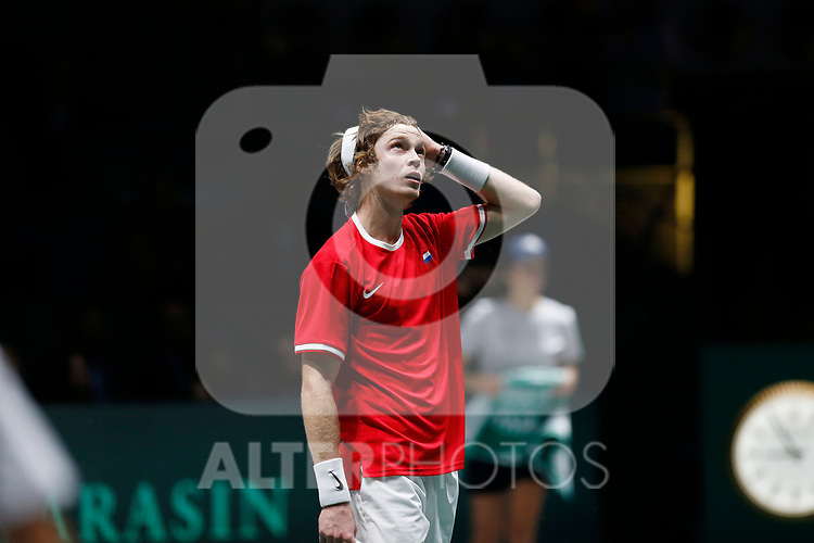 Andrey Rublev of Russia celebrates victory after his singles match against against Andrey Rublev of Russia during Day 2 of the 2019 Davis Cup at La Caja Magica on November 19, 2019 in Madrid, Spain. (ALTERPHOTOS/Manu R.B.)