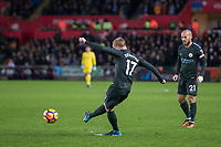 Kevin De Bruyne of Manchester City scores his side's second goal during the EPL - Premier League match between Swansea City and Manchester City at the Liberty Stadium, Swansea, Wales on 13 December 2017. Photo by Mark  Hawkins / PRiME Media Images.