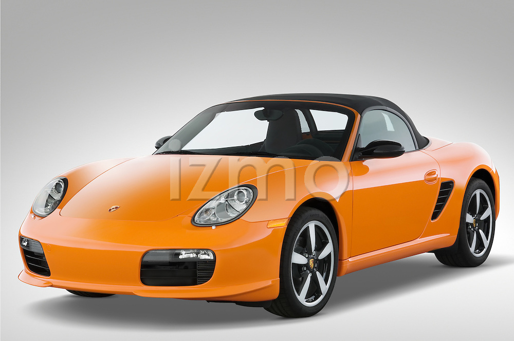 Front three quarter view of a 2008 Porsche Boxster LE, with the top up