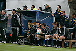 Mike Harris waits on the bench during the rugby test between New Zealand Secondary Schools &amp; Australia, played at Auckland Grammar School on the 10th of October 2006. New Zealand won 18 - 8.<br />