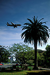 Jet airplane flying low over Balboa Park on approach for landing, San Diego County, CALIFORNIA