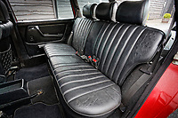 The MB tex rear seats of the Mercedes W123 series 230TE estate version, outside the Penderyn Whisky Distillery in south Wales, UK. Tuesday 19 June 2018