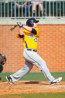 Christ Conley (13) of the Canisius Golden Griffins follows through on his swing against the Charlotte 49ers at Hayes Stadium on February 23, 2014 in Charlotte, North Carolina.  The Golden Griffins defeated the 49ers 10-1.  (Brian Westerholt/Four Seam Images)
