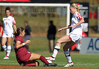 COLLEGE PARK, MD - OCTOBER 21, 2012:  Ashley Spivey (8) of the University of Marylandis tackled by Tiana Brockway (15) of Florida State during an ACC women's match at Ludwig Field in College Park, MD. on October 21. Florida won 1-0.
