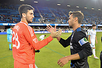 San Jose, CA - Wednesday June 28, 2017: Andrew Tarbell, Chris Wondolowski during a U.S. Open Cup Round of 16 match between the San Jose Earthquakes and the Seattle Sounders FC at Avaya Stadium.