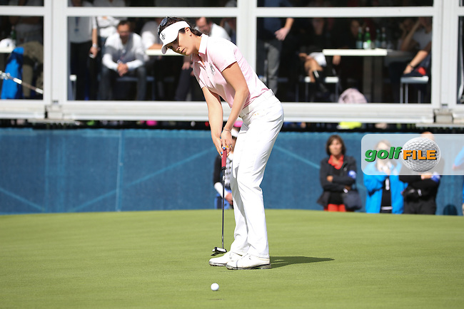 Sandra Gal (GER) missing a putt on the 16th to take the match to the next hole during Saturday morning's Foursomes, at The Solheim Cup 2015 played at Golf Club St. Leon-Rot, Mannheim, Germany.  19/09/2015. Picture: Golffile | David Lloyd<br /> <br /> All photos usage must carry mandatory copyright credit (&copy; Golffile | David Lloyd)