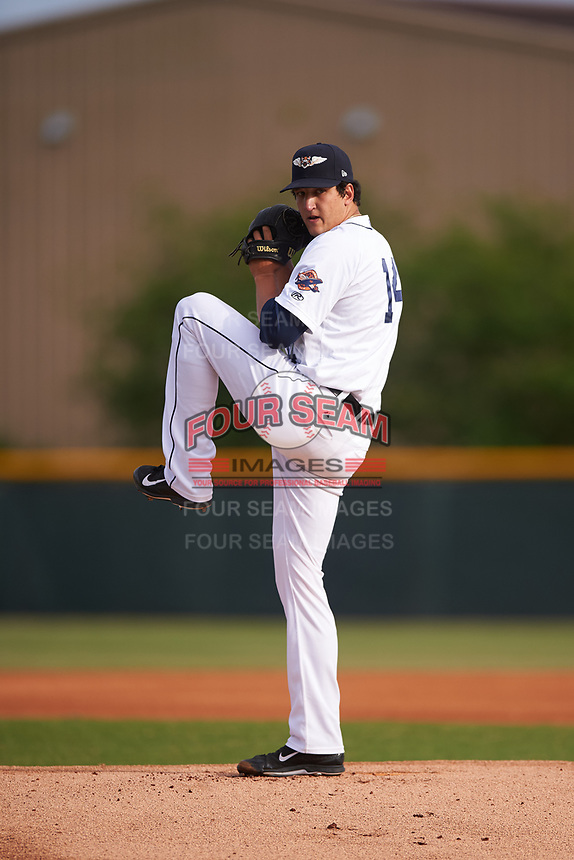 Lakeland Flying Tigers starting pitcher A.J. Ladwig (14) during a game against the Brevard County Manatees on April 20, 2016 at Henley Field in Lakeland, Florida.  Lakeland defeated Brevard County 5-2.  (Mike Janes/Four Seam Images)