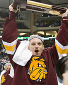 David Grun (Duluth - 27) - The University of Minnesota-Duluth Bulldogs celebrated their 2011 D1 National Championship win on Saturday, April 9, 2011, at the Xcel Energy Center in St. Paul, Minnesota.