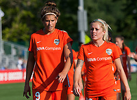 Kansas City, MO - Sunday July 02, 2017:  Sarah Hagen and Denise O'Sullivan walk back to the dressing room shortly before a regular season National Women's Soccer League (NWSL) match between FC Kansas City and the Houston Dash at Children's Mercy Victory Field.