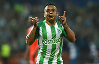 MEDELLÍN - COLOMBIA, 22-02-2018: Vladimir Hernandez de Atlético Nacional celebra después de anotar un gol a América de Cali durante partido por la fecha 5 de la Liga Águila I 2018 jugado en el estadio Atanasio Girardot de la ciudad de Medellín. / Vladimir Hernandez payer of Atletico Nacional celebrates after scoring a goal to America de Cali during match for the date 5 of the Aguila League I 2018 at Atanasio Girardot stadium in Medellin city. Photo: VizzorImage/León Monsalve/Cont