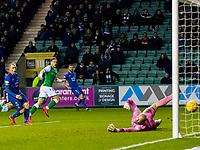 28th February 2020; Easter Road, Edinburgh, Scotland; Scottish Cup Football, Hibernian versus Inverness Caledonian Thistle; Jamie Gullan of Hibernian scores Hibernian fifth goal in the 85th minute for 5-1