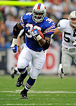 21 September 2008: Buffalo Bills' fullback Darian Barnes gains 25 yards in the first quarter against the Oakland Raiders at Ralph Wilson Stadium in Orchard Park, NY. The Bills rallied for 10 unanswered points in the 4th quarter to defeat the Raiders 24-23 marking their first 3-0 start of the season since 1992...Mandatory Photo Credit: Ed Wolfstein Photo