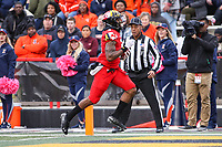 College Park, MD - October 27, 2018: Maryland Terrapins wide receiver Jahrvis Davenport (9) scores a touchdown during the game between Illinois and Maryland at  Capital One Field at Maryland Stadium in College Park, MD.  (Photo by Elliott Brown/Media Images International)