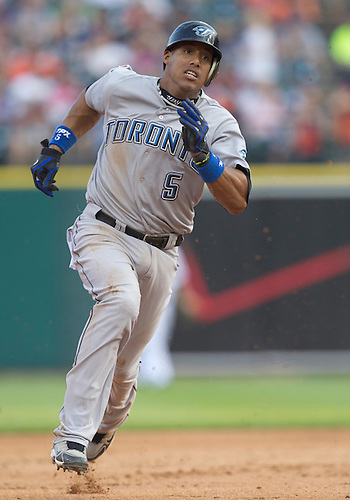 June 27, 2011:  Toronto Blue Jays shortstop Yunel Escobar (#5) rounds second base during MLB game action between the Toronto Blue Jays and the Detroit Tigers at Comerica Park in Detroit, Michigan.  The Tigers defeated the Blue Jays  4-2.