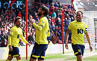Blackburn Rovers' Danny Graham celebrates scoring his side's second goal <br /> <br /> Photographer David Shipman/CameraSport<br /> <br /> The EFL Sky Bet Championship - Nottingham Forest v Blackburn Rovers - Saturday 13th April 2019 - The City Ground - Nottingham<br /> <br /> World Copyright © 2019 CameraSport. All rights reserved. 43 Linden Ave. Countesthorpe. Leicester. England. LE8 5PG - Tel: +44 (0) 116 277 4147 - admin@camerasport.com - www.camerasport.com