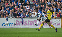 \R)09\ shoots at goal under pressure from Luke Pennell Dagenham & Redbridge during the Sky Bet League 2 match between Bristol Rovers and Dagenham and Redbridge at the Memorial Stadium, Bristol, England on 7 May 2016. Photo by Mark  Hawkins / PRiME Media Images.