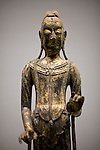 Photo shows a detail of the Standing Kannon, which dates back to the 7th century, on display at the Nezu Museum of Art in, Tokyo, Japan on 17 Sept. 2012. The  museum was  first conceptualized by pre-war industrialist Kachiro Nezu, who wanted to find a place to display and store his collection of ancient Asian artworks. The building was designed by architect Kuma Kengo. Photographer: Robert Gilhooly