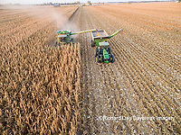 63801-08220 Corn Harvest, John Deere combine unloading corn into grain cart while harvesting - aerial Marion Co. IL