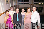 Taking a break from the dancing at their Debs Ball at The Waterville Lake Hotel on Thursday were l-r; Louise Curran, Shane O'Sullivan, John Paul Mahony, Marie O'Sullivan, Tara Dennehy & Shane O'Connor.