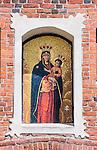 Olsztyn, 2014-05-18. Średniowieczna mozaika Matki Boskiej Królowej Pokoju na Branie Górnej, dar papieża Jana Pawła II.