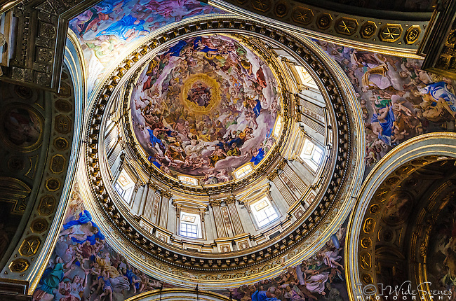 The domed ceiling in Naples Cathedral (Duomo), Cappella di San Gennaro, Naples, Campania, Italy