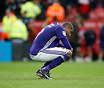 Leon Clarke of Sheffield Utd frustrated on the final whistle during the Championship match at the Riverside Stadium, Middlesbrough. Picture date: August 12th 2017. Picture credit should read: Simon Bellis/Sportimage