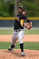 Pittsburgh Pirates pitcher Yunior Montero (6) during a minor league spring training game against the Toronto Blue Jays on March 26, 2015 at Pirate City in Bradenton, Florida.  (Mike Janes/Four Seam Images)