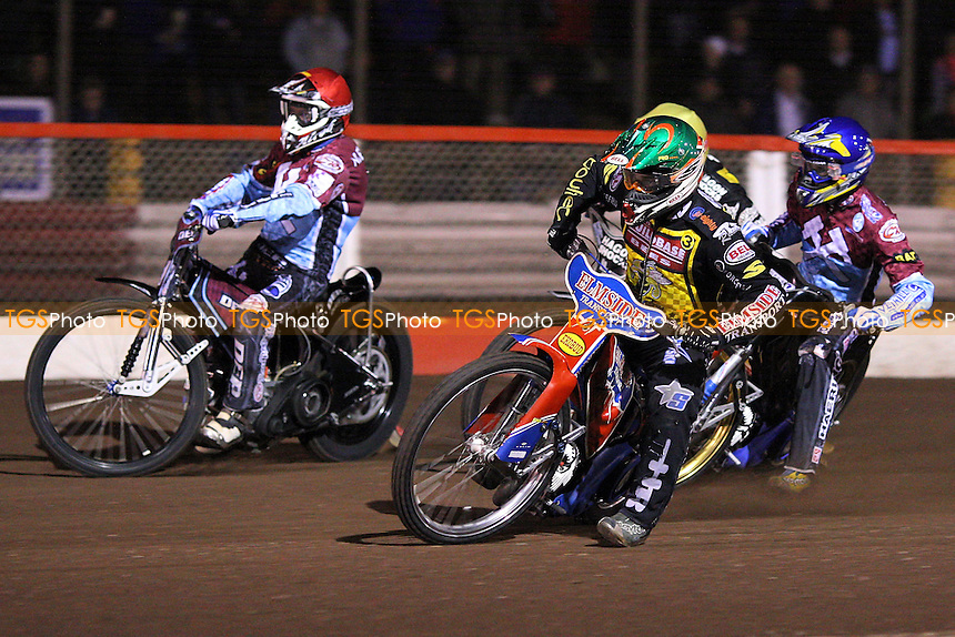 Heat 3: Kennett (yellow), Nieminen (red), Davidsson (blue) and Allen - Lakeside Hammers vs Coventry Bees - Elite League Knockout Cup Final 1st Leg at Arena Essex Raceway - 14/10/09 - MANDATORY CREDIT: Gavin Ellis/TGSPHOTO - Self billing applies where appropriate - Tel: 0845 094 6026
