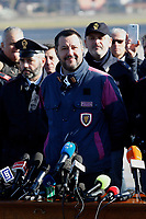 Matteo Salvini <br /> Rome January 14th 2019. Cesare Battistii left-wing Italian militant who was convicted of murder three decades ago, arrived in Rome to serve a life prison sentence, after his life as a celebrity fugitive came to an abrupt end with his arrest in Bolivia by a team of Interpol agents.<br /> Foto Samantha Zucchi Insidefoto