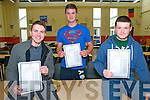 St. Michael's College, Listowel: Darren McDonnell, Evan O'Brien & Rian Fitzgerald celebrating their Leaving Cert results on Wednesday morning.