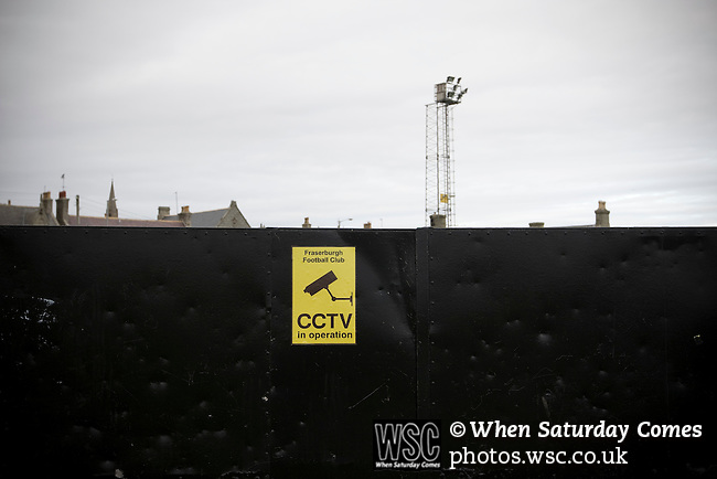 A CCTV sign displayed on the perimeter gates at Bellslea Park, home of Fraserburgh FC, prior to the club's Highland League fixture against visitors Strathspey Thistle. Nicknamed 'The Broch,' Fraserburgh have been members of the Highland League since 1921 having been formed 11 years earlier. The match ended in a 2-2 draw in front of a crowd of 302.