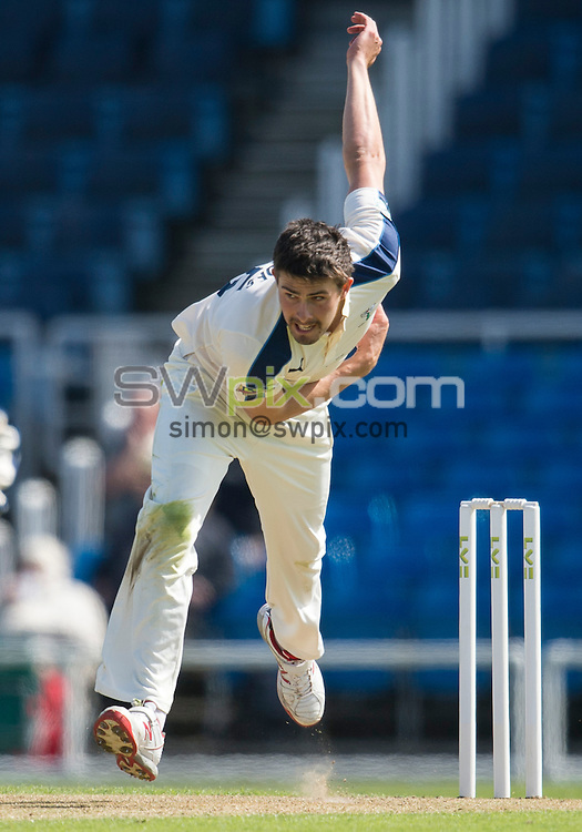 Picture by Allan McKenzie/SWpix.com - 26/04/2015 - Cricket - LV County Championship Div One - Yorkshire County Cricket Club v Warwickshire County Cricket Club - Headingley Cricket Ground, Leeds, England - Yorkshire's Will Rhodes bowls.