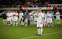 Alan Tate speaks to supporters during the Alan Tate Testimonial Match, Swansea City Legends v Manchester United Legends at the Liberty Stadium, Swansea, Wales, UK