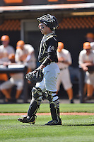 Vanderbilt Commodores catcher Karl Ellison (25) during a game against the Tennessee Volunteers at Lindsey Nelson Stadium on April 24, 2016 in Knoxville, Tennessee. The Volunteers defeated the Commodores 5-3. (Tony Farlow/Four Seam Images)