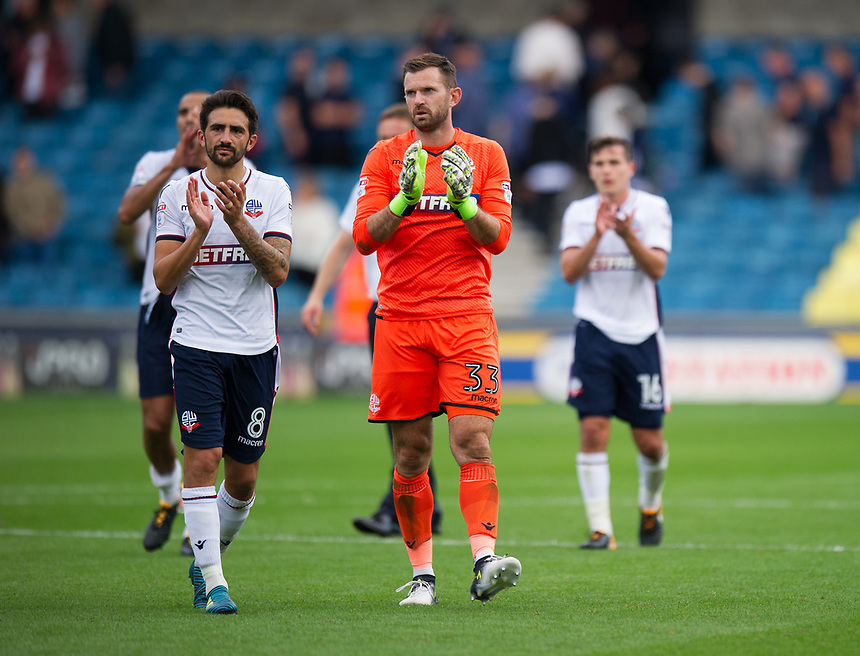 Bolton Wanderers' Jem Karacan and Mark Howard celebrate their point at the Den<br /> <br /> Photographer Ashley Western/CameraSport<br /> <br /> The EFL Sky Bet Championship - Millwall v Bolton Wanderers - Saturday August 12th 2017 - The Den - London<br /> <br /> World Copyright &not;&copy; 2017 CameraSport. All rights reserved. 43 Linden Ave. Countesthorpe. Leicester. England. LE8 5PG - Tel: +44 (0) 116 277 4147 - admin@camerasport.com - www.camerasport.com