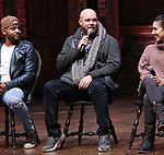 "Terrance Spencer, Gregory Treco and Gabriella Sorrentino during The Rockefeller Foundation and The Gilder Lehrman Institute of American History sponsored High School student #eduHam matinee performance of ""Hamilton"" Q & A at the Richard Rodgers Theatre on November 28, 2018 in New York City."