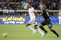 SAN JOSE,  - AUGUST 31: Nani  #17 of the Orlando City SC and Judson #93 of the San Jose Earthquakes during a game between Orlando City SC and San Jose Earthquakes at Avaya Stadium on September 1, 2019 in San Jose, .