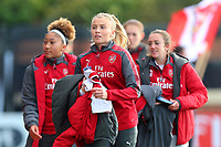 The Arsenal substitutes head to the bench during Arsenal Women vs Sunderland AFC Ladies, FA Women's Super League FA WSL1 Football at Meadow Park on 12th November 2017