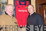 JERSEY: Danny Leane Snr and Danny Leane Jnr of The Abbey Inn Tralee, with the signed Munster jersey they bought in aid of the Stuart Mangan Appeal.