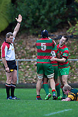 Notise Tauafoa gets congratulated by Ronald Raymakers and Steven Kennedy after scoring the match winng try for Waiuku. Counties Manukau McNamara Cup Premier Club Rugby final between Pukekohe andWaiuku, held at Bayer Growers Stadium, on Saturday July 17th. Waiuku won 25 - 20.