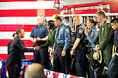 United States President Barack Obama shakes hands with firefighters and police officers following his remarks on the economy at Fire Station #5 in Arlington, Virginia on Friday, February 3, 2012.  .Credit: Ron Sachs / Pool via CNP