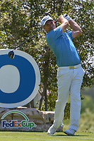 Padraig Harrington (IRL) watches his tee shot on 18 during day 1 of the Valero Texas Open, at the TPC San Antonio Oaks Course, San Antonio, Texas, USA. 4/4/2019.<br /> Picture: Golffile   Ken Murray<br /> <br /> <br /> All photo usage must carry mandatory copyright credit (&copy; Golffile   Ken Murray)
