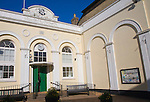 Neo-classical facade of the Market Hall, originally built in 1846 as the Corn Exchange, Saxmundham, Suffolk, England