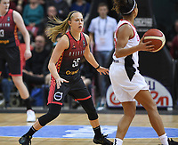 20200206 – OOSTENDE ,  BELGIUM : Belgian Julie Allemand (55) pictured defending during a basketball game between the national teams of Canada and the National team of Belgium named the Belgian Cats on the first matchday of the FIBA Women's Qualifying Tournament 2020 , on Thursday 6  th February 2020 at the Versluys Dome in Oostende  , Belgium  .  PHOTO SPORTPIX.BE   DAVID CATRY