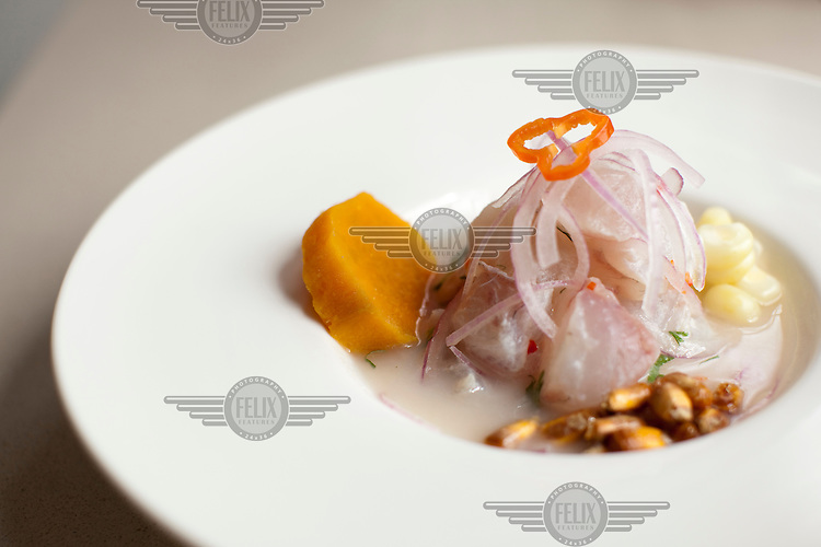 Peruvian chef Gaston Acurio in his kitchen. Acurio is trying to remake Peru's traditional cuisine and export it as Japan did with sushi. This is a traditional raw fish ceviche dish.